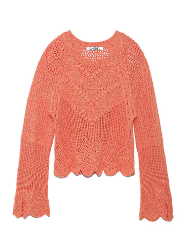 Crochet Like Knit Pullover (SWNT191094)