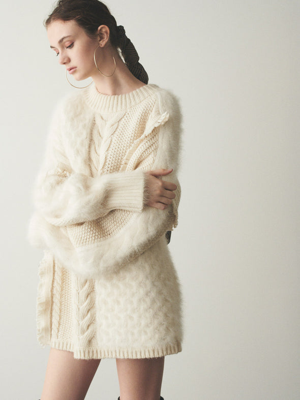 Cable Blocking Knit Dress