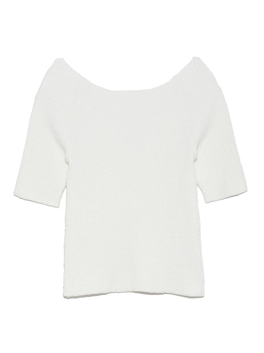 Off the Shoulder Rib Knit Pullover (SWNT191106)
