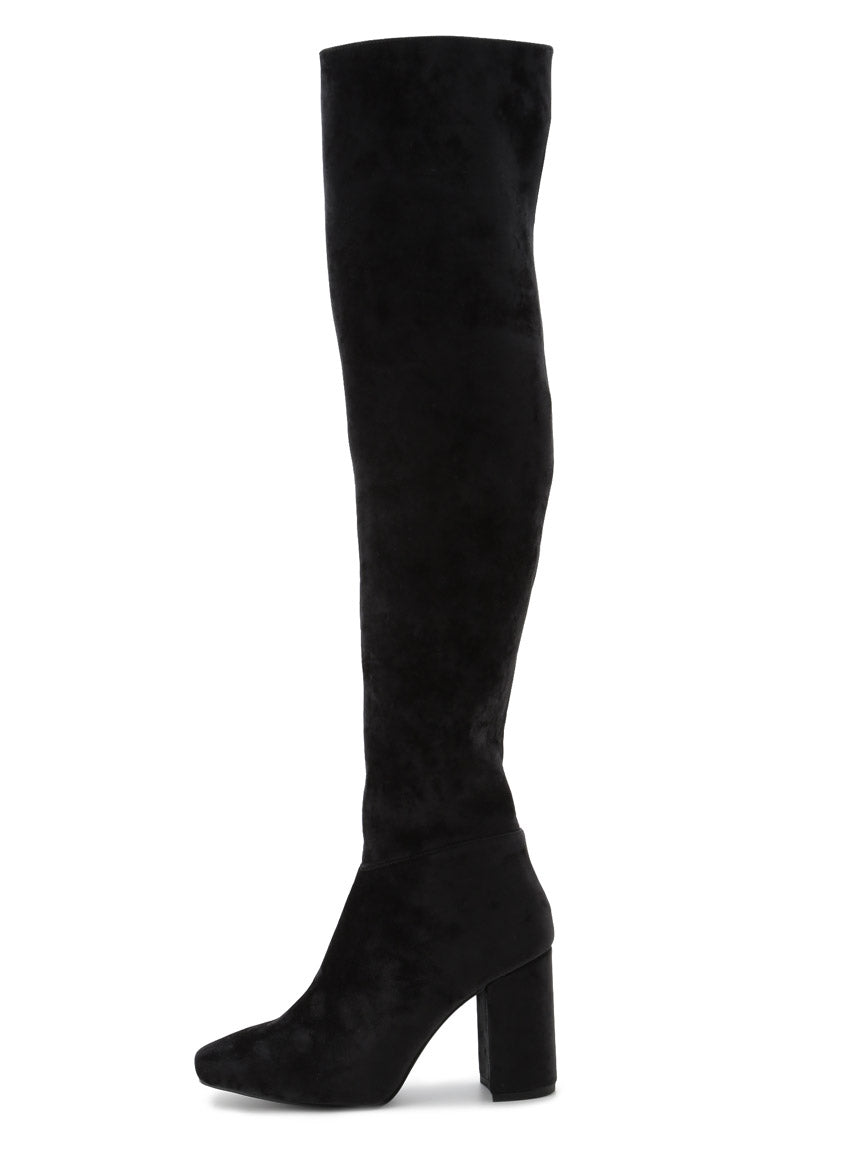 Velour Knee-High Boots