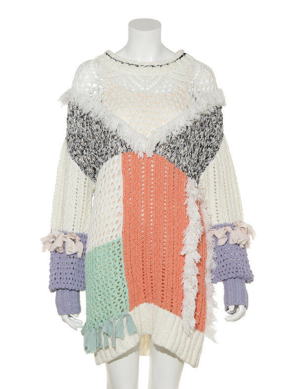Blocked Fringe Design Knit Dress