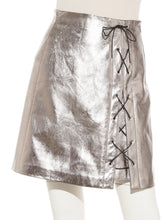 Load image into Gallery viewer, Faux Leather Lace-Up Skirt