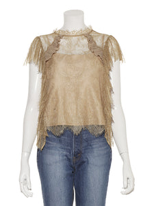 Sheer lace raffle blouse (SWFB194093)