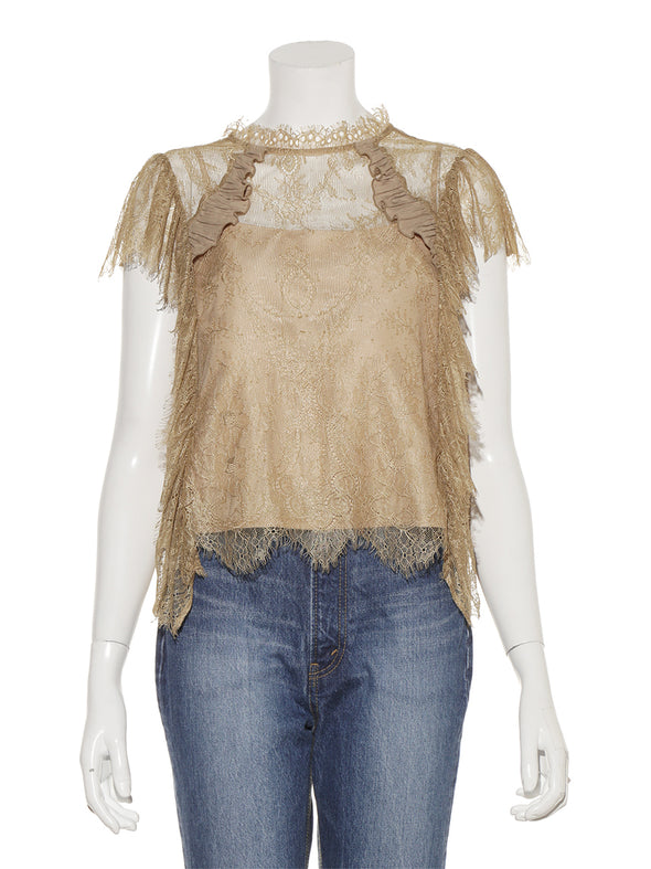 Sheer lace raffle blouse
