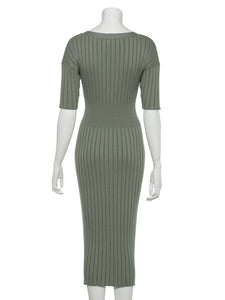 Open Front Wide-Ribbed Knit Dress (SWNO191053)
