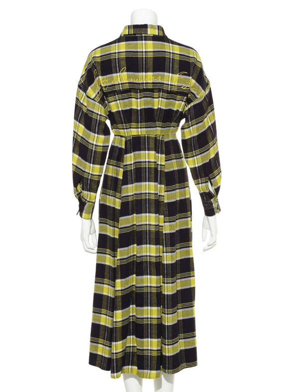 Logo Embroidered Flannel Shirt Dress