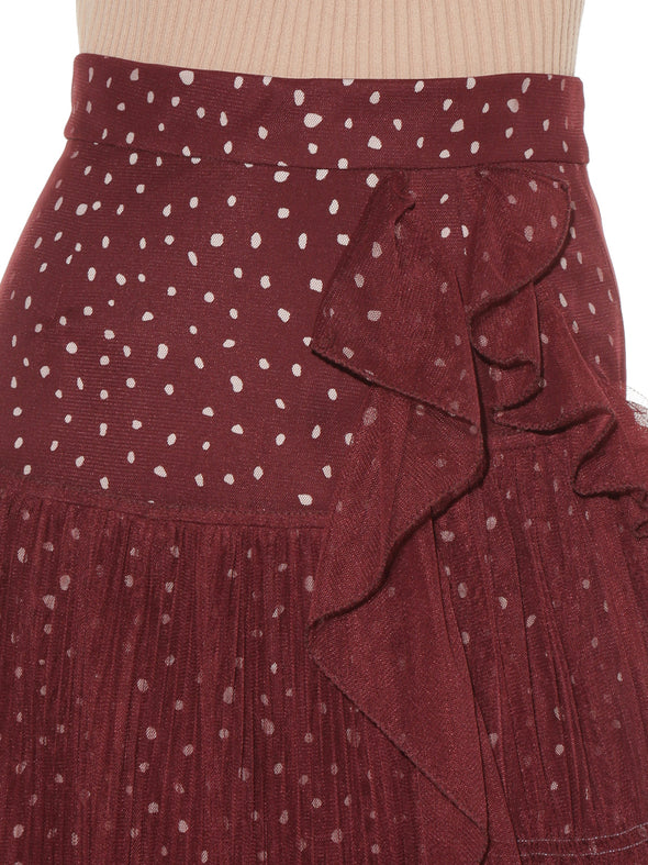 Irregular Hem Tulle Pleated Skirt