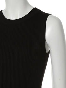 Rib Knit No-Sleeve Top (SWNT192076)