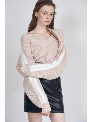Striped Arm Knit Top (SWNT185079)