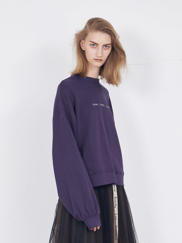 Oversized Pullover Sweater with Logo