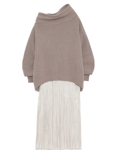 Knit Sweater with Pleated Skirt