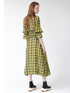 Checkered Long Dress with Belt (SWFO185013)
