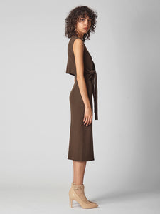 Waist marked American-style sleeve knit dress (SWNO194049)