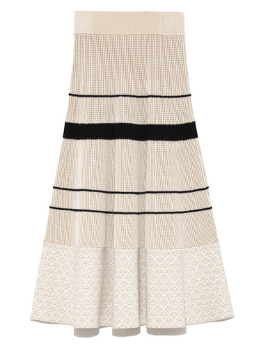 Colorblock Border Knit Skirt (SWNS191105)