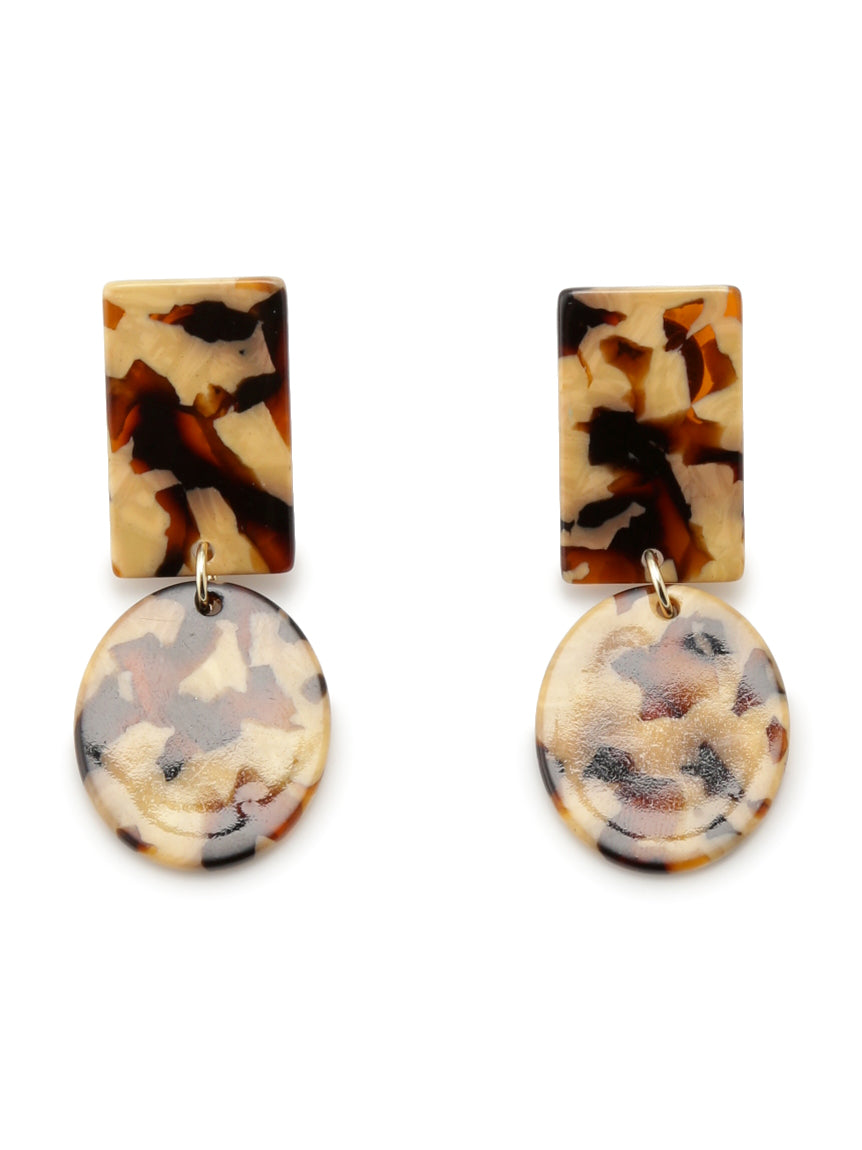 Squared marble printed earrings (SWGA194678)