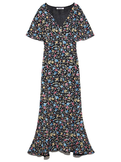 Variations Printed Gown Dress