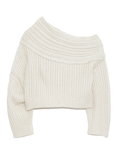 Off Shoulder Cable Knit Sweater