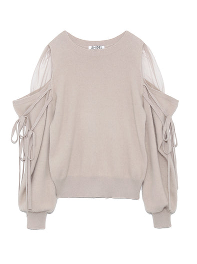 See-through Shoulder Knit Pullover