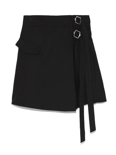 Pleated Wrapped Skirt-style Shorts
