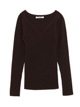 Load image into Gallery viewer, Sweetheart Neckline Rib Knit Pullover