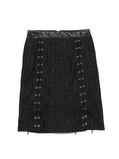 Pleated Lace-Up Skirt