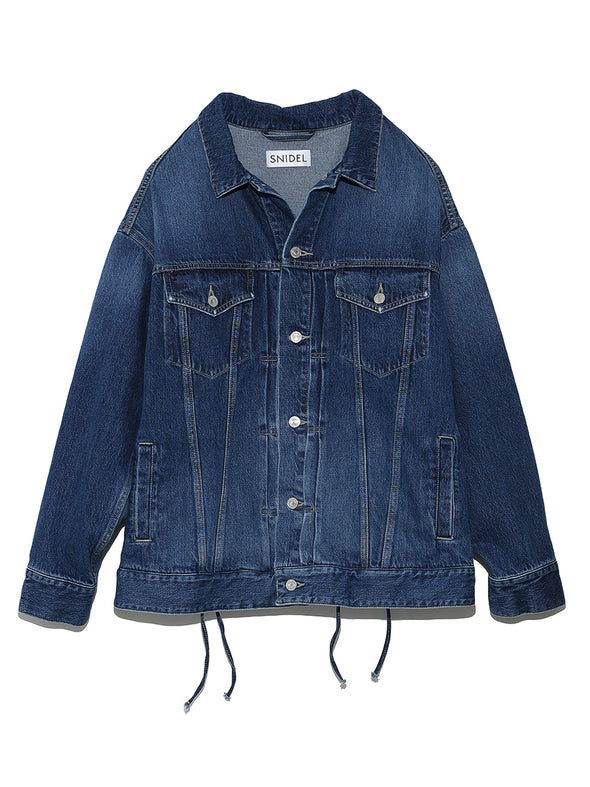 Oversized Lace-Up Jean Jacket