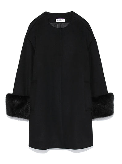 Point Eco-fur Coat