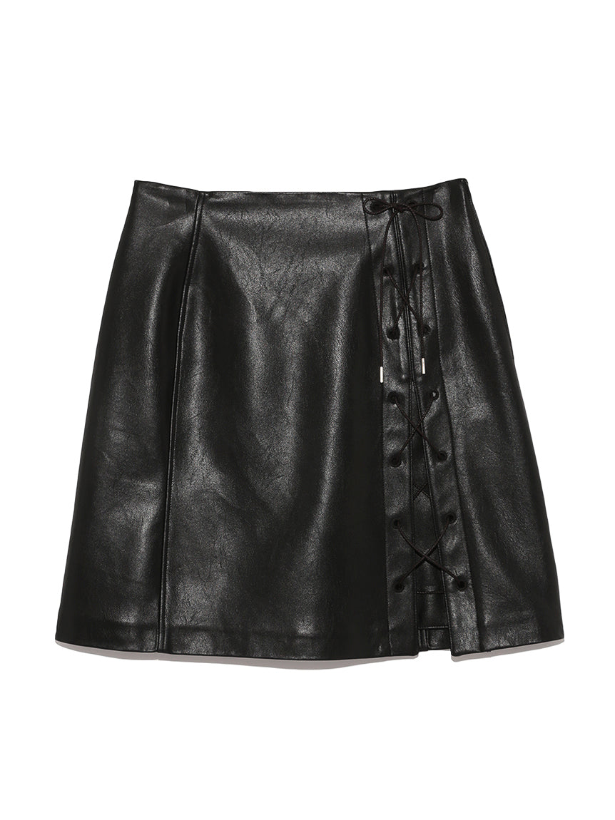 Faux Leather Lace-Up Skirt (SWFS184144)