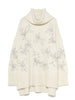 Flower Embroidered Turtleneck Knit Pullover