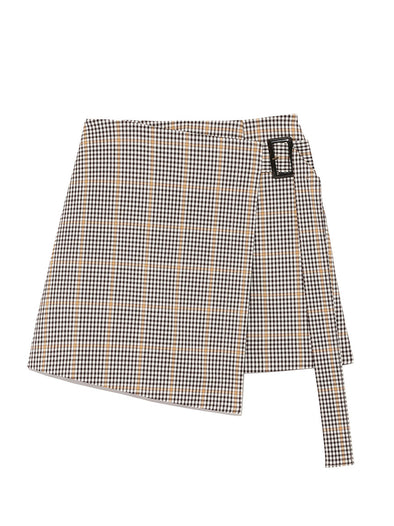 Check Patterned Mini Wrap Skirt