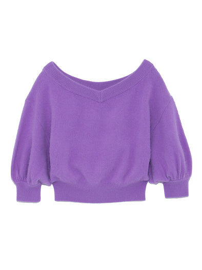 Volume Sleeve V-neck Knit