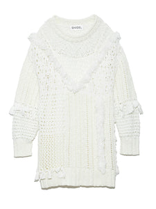 Blocked Fringe Design Knit Dress (SWNO191063)