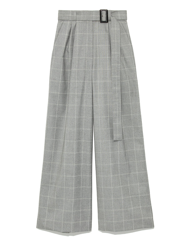 Check Patterned Wide Pants