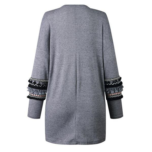 SEXY LONG AUTUMN WINTER KNITTED LOOSE CARDIGAN