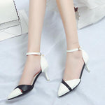 SEXY BLACK AND WHITE HIGH AND THIN HEELS STILETTO WITH ANKLE STRAP SHOES