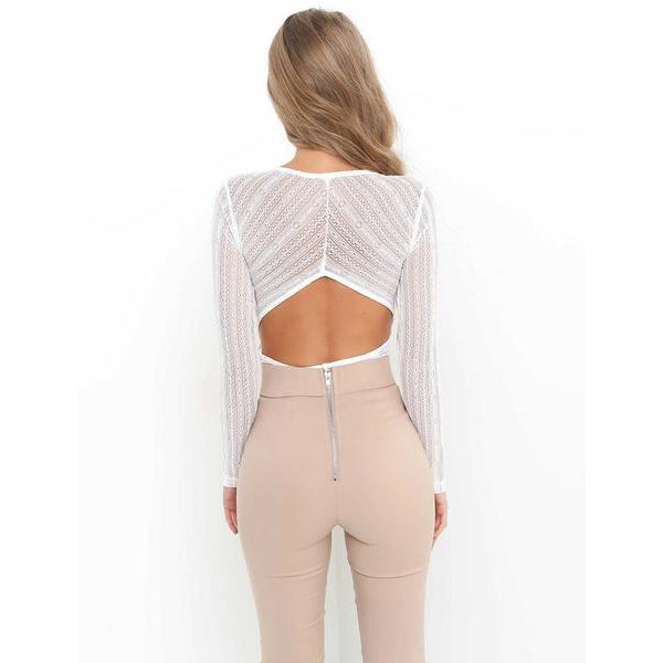 SEXY TRANSPARENT BACKLESS WITH DEEP V-NECK BODYSUIT