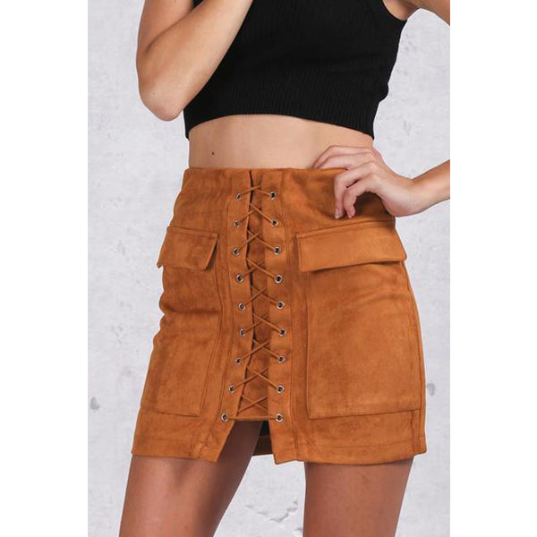 SEXY SHORT LEATHER 90'S VINTAGE WITH LACE UP SUEDE POCKET PREPPY AND HIGH WAIST SKIRT