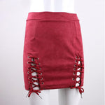 SEXY MINI BODYCONE WITH LACE-UP SOLID A-LINE SUEDE SKIRT