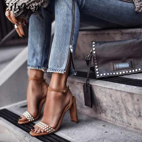 SEXY BROWN GLADIATOR SANDALS WITH ANKLE STRAP AND RIVET BUCKLE STRAP SHOES
