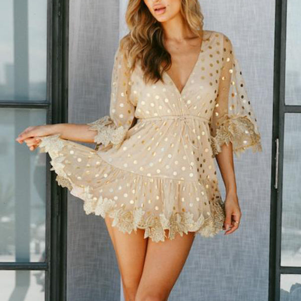 ELEGANT LOOSE MESH EMBROIDERY PATCHWORK WITH V NECK AND HALF SLEEVE MINI DRESS