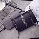 SEXY FLAP LEAVES DECORATION HANDBAG AND SHOULDER BAG WITH CHAIN