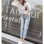 TORN PANTS-WIDE TROUSERS LOOSE STILETTS BOYFRIENDS JEANS PANTS