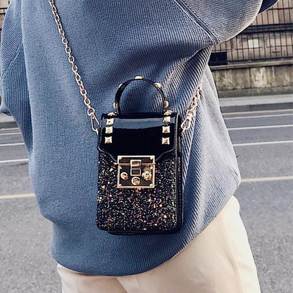SEXY FLAP HANDBAG AND SHOULDER BAG WITH RIVET CHAIN