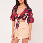 SEXY FLORAL TROPICAL PRINT BOHO STYLE WITH DEEP V NECK CROP TOP