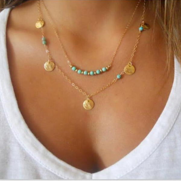 SEXY GOLD AND BLUE BOHEMIAN STYLE TASSEL DROP VINTAGE MULTILAYER COLLAR CHOKER CHAIN STATEMENT NECKLACES