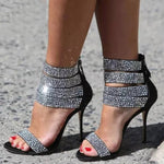 SEXY CRYSTAL SANDALS WITH CUT-OUT ANKLE STRAP AND HIGH HEELS SHOES