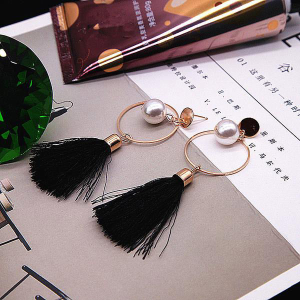 SEXY PEARL BLACK TASSEL VINTAGE LONG FRINGE EARRINGS