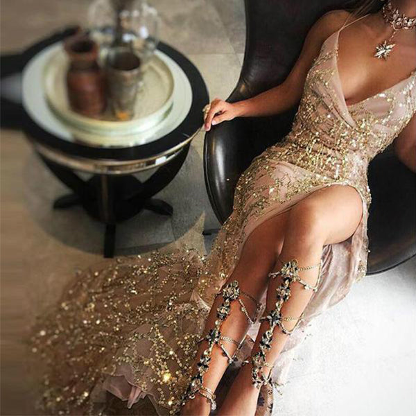 ELEGANT SEQUINS GOLD MAXI DRESS