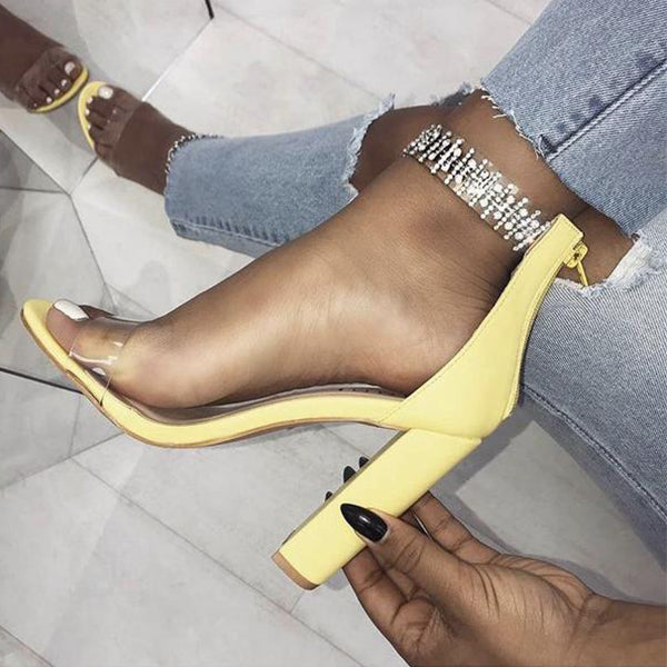 SEXY ANKLE STRAP CRYSTAL SANDALS WITH BUCKLE STRAP AND HIGH HEELS SHOES