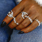 SEXY 5PCS/SET VINTAGE ANTIQUE SILVER CRYSTAL SHINY STAR MIDI FINGER RINGS